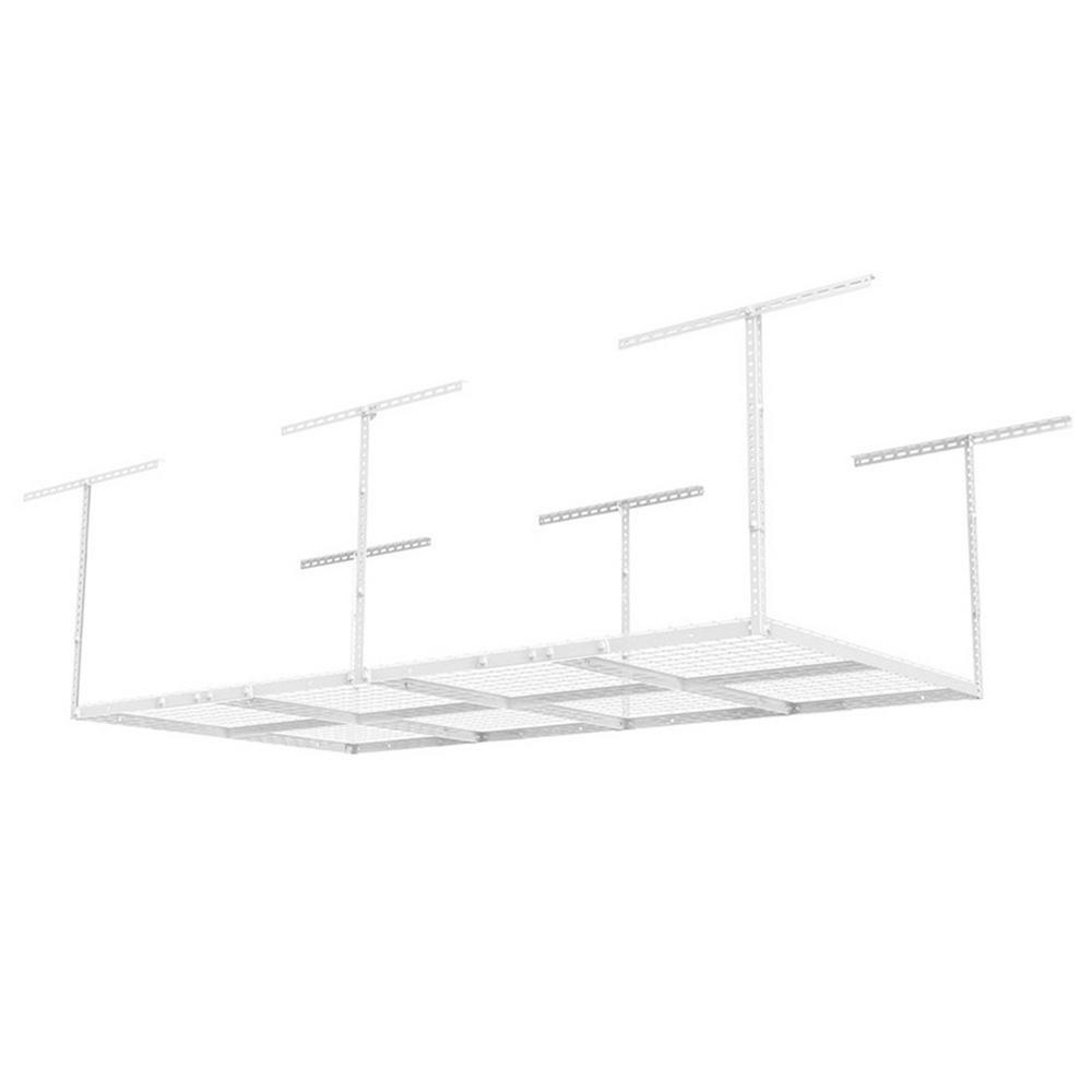 FLEXIMOUNTS 4 ft. x 8 ft. Heavy-Duty Overhead Garage Adjustable Ceiling Storage Rack in White