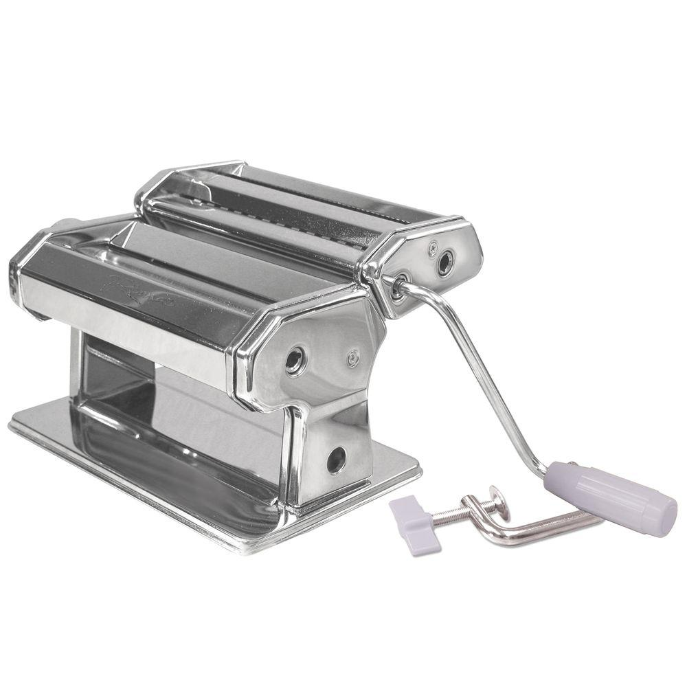 Weston Traditional Style 6 in. Pasta Machine Make fresh homemade pasta noodles using our 6 in. Traditional Style Pasta Machine. Use your favorite ingredients to prepare the dough, feed it through the rollers to make a sheet and then feed it through the cutter to shape your pasta noodles. Made of stainless steel, the pasta machine comes with two cutter attachments to make spaghetti and fettuccine. The easy turn rollers adjust to seven thickness settings. The instruction guide includes recipes. A c-clamp is included to attach the pasta maker to a counter top. Additional cutting attachments are available and sold separately (Angel Hair, Lasagnette, Lasagna, Linguini, Half Moon Ravioli and 2 in. Square Ravioli).