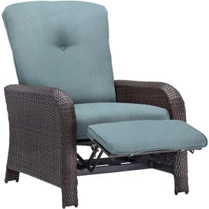 Corolla 1-Piece Wicker Outdoor Reclinging Patio Lounge Chair with Blue Cushions