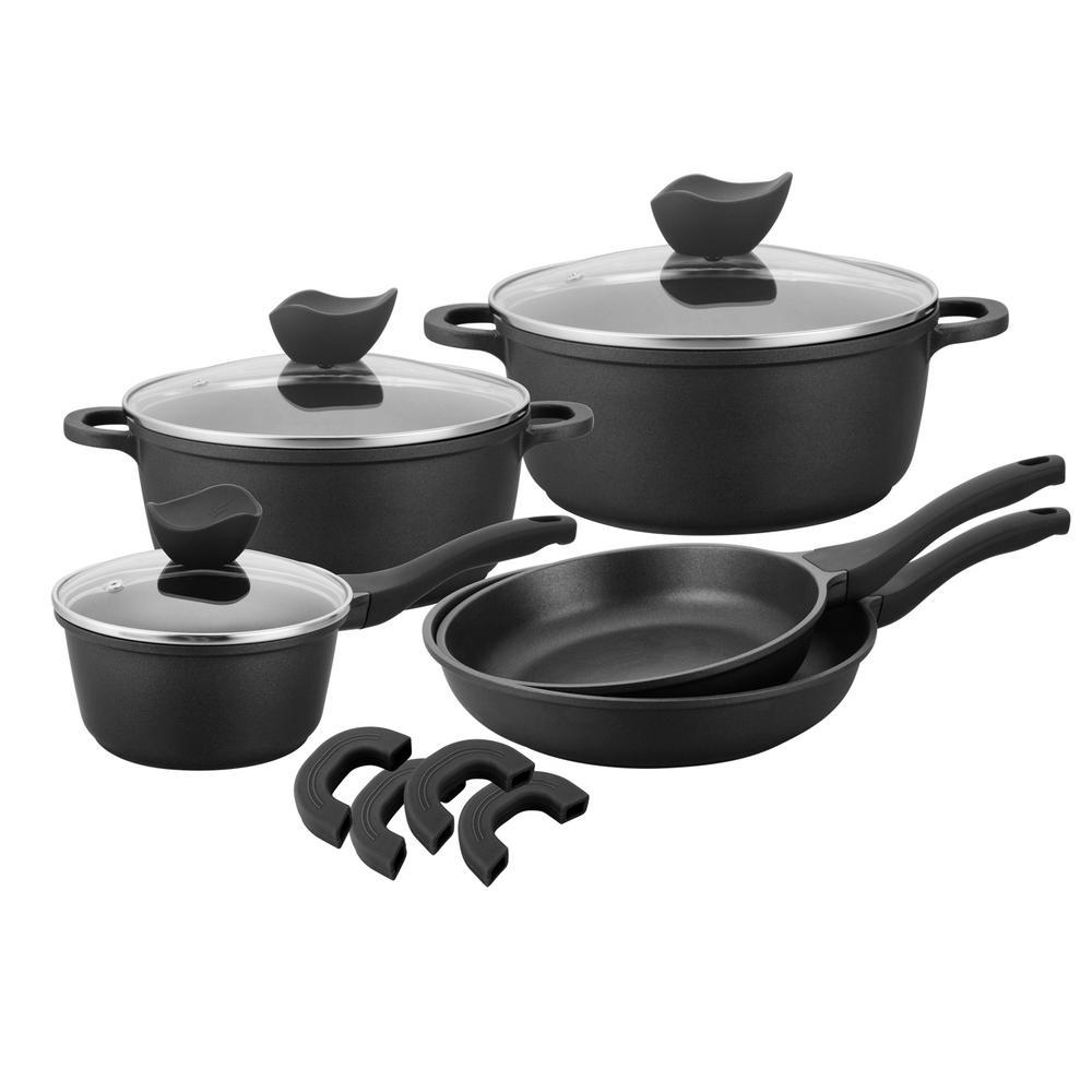 Culinary Edge Die Cast 8 Piece Cast Aluminum Ceramic Nonstick Cookware Set In Black 26609 The Home Depot