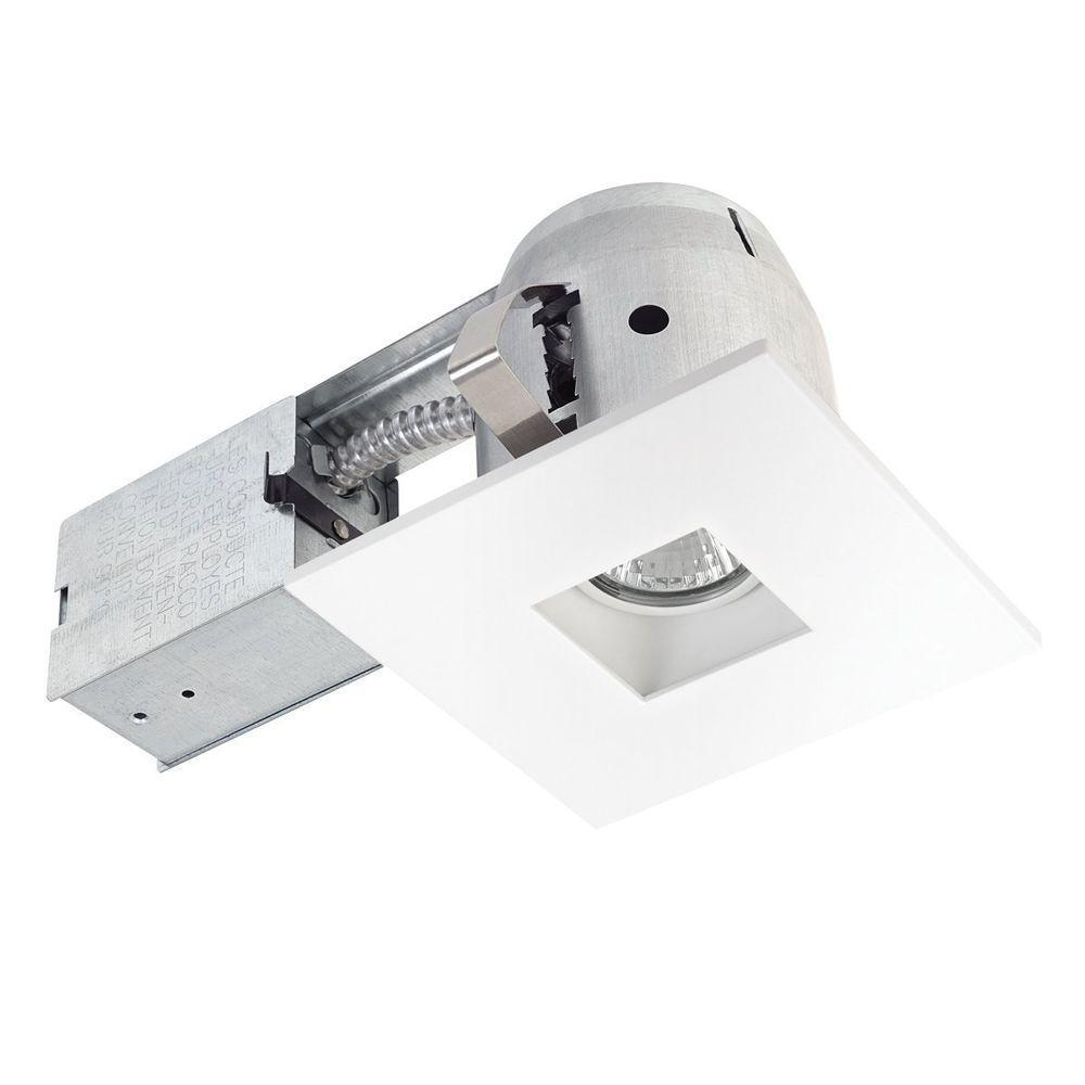 3.875 in. Square White Recessed Swivel Lighting Kit