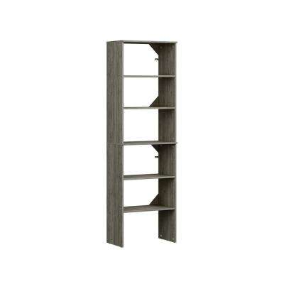 Style+ 15 in. D x 25 in. W x 82 in. H Coastal Teak Melamine Floor Mount 6-Shelves Closet System