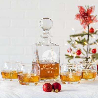 rockin around clear glass christmas decanter set