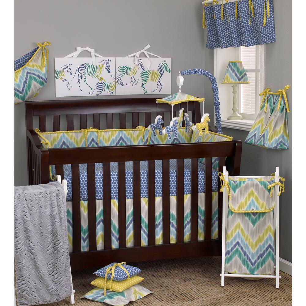 Cotton Tale Designs Zebra Romp Flame Sch 4 Piece Crib Bedding Set