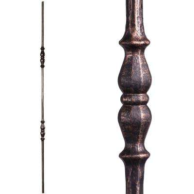 Tuscan Round Hammered 44 in. x 0.5625 in. Oil Rubbed Bronze Double Knuckle Solid Wrought Iron Baluster