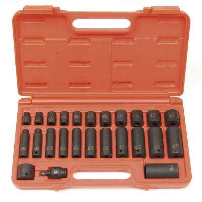 3/8 in. Drive SAE Master Impact Socket Set (25-Piece)