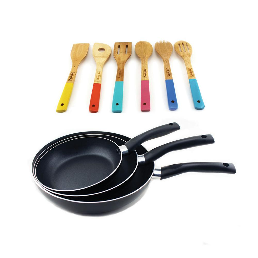 9-Piece Carbon Steel Frying Pan Set with Utensil Set
