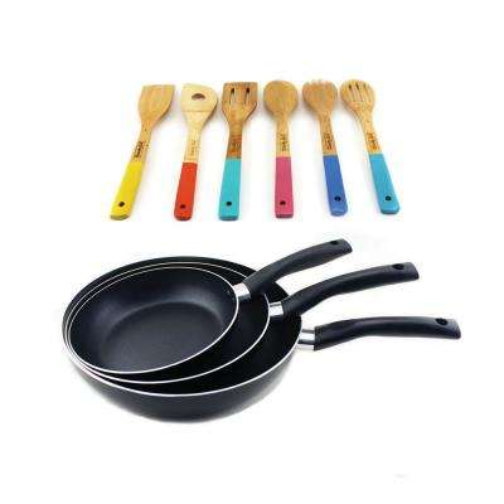 9-Piece Carbon Steel Frying Pan Set with Utensil Set