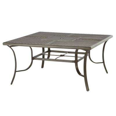 Wilshire Estates 1-Piece Aluminum 60 in. Square Cast Top Outdoor Dining Table