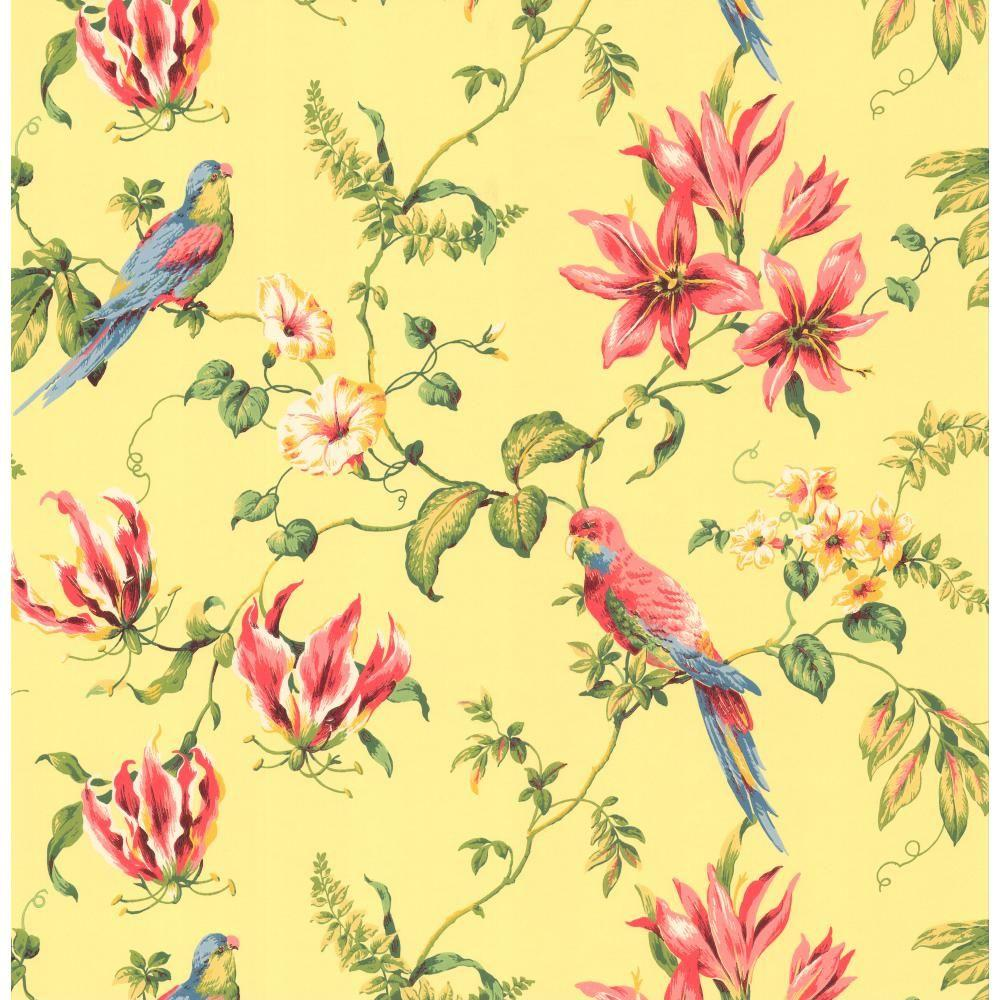 York wallcoverings birds wallpaper cj2800 the home depot - Floral wallpaper home depot ...