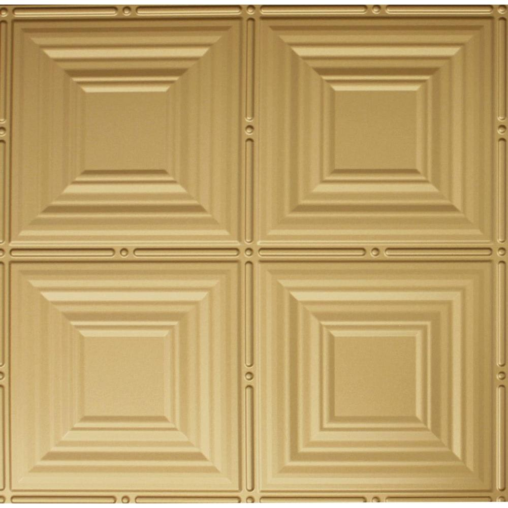 Dimensions 2 ft. x 2 ft. Brass Lay-in Tin Ceiling Tile