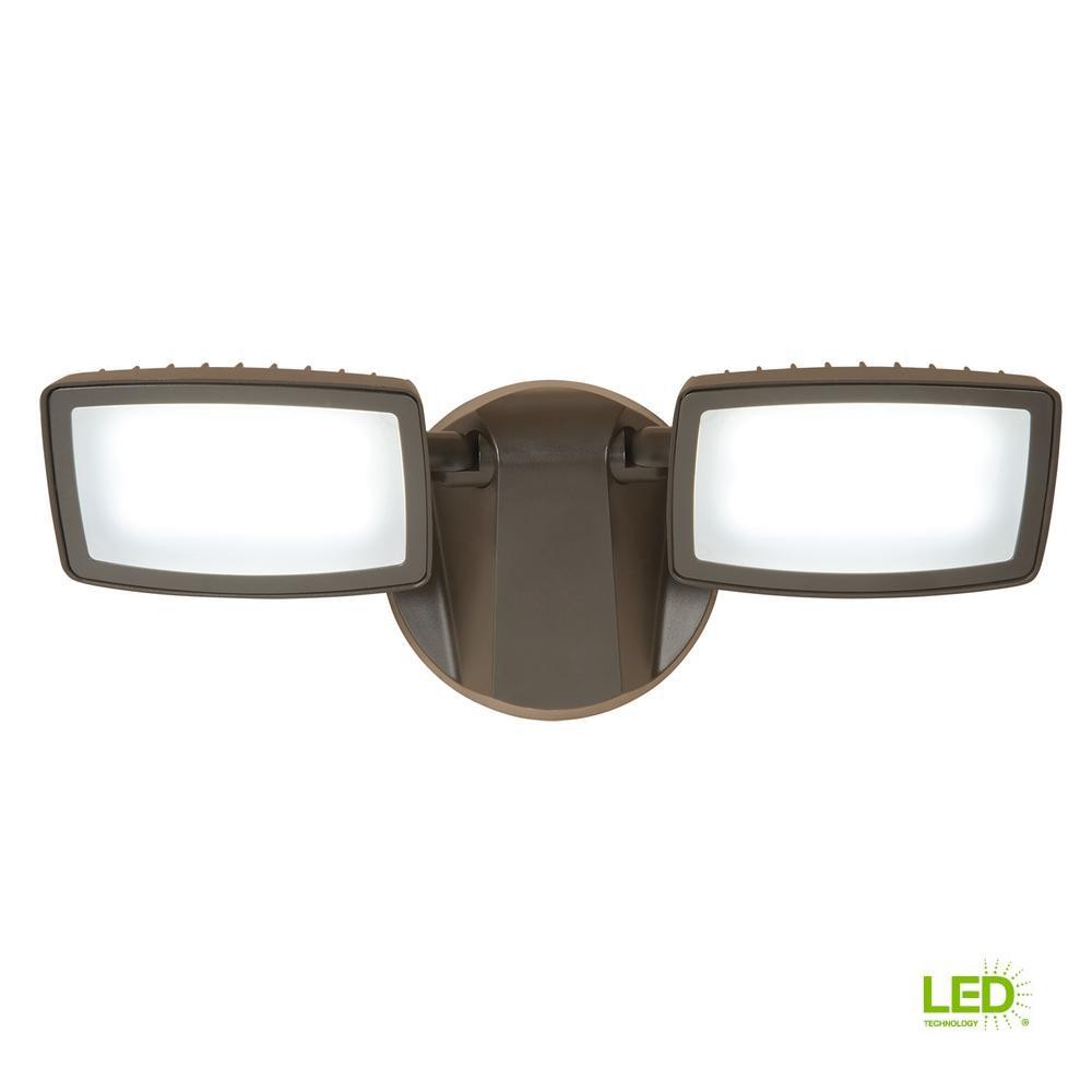 Bronze Outdoor Integrated LED Twin-Head Security Flood Light
