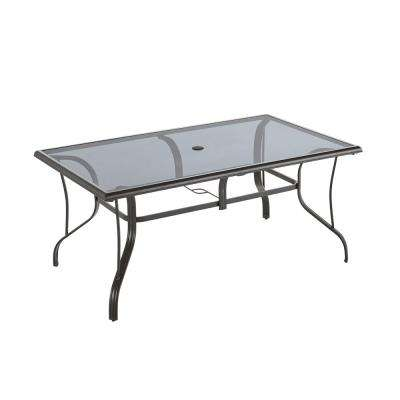 statesville pewter rectangle aluminum glass outdoor dining table rh homedepot com rectangular patio tablecloth with umbrella hole rectangular patio table and chairs