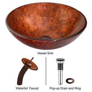 VIGO Glass Vessel Sink in Mahogany Moon with Waterfall Faucet Set in Oil Rubbed Bronze by VIGO