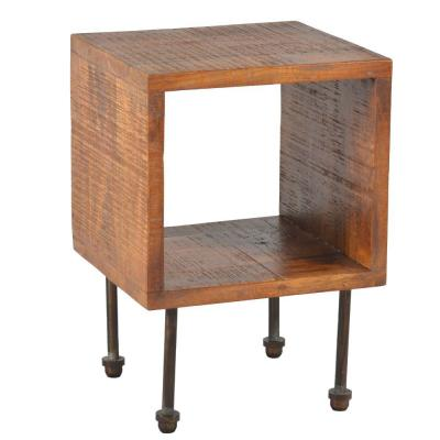 Industrial Style Brown Cube Shape Wooden Nightstand with Rough Sawn Texture 15.5 in. L x 14.5 in. W x 22 in. H