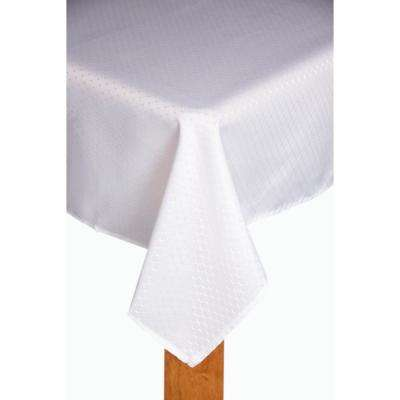 Chelton 60 in. x 84 in. White 100% Polyester Tablecloth