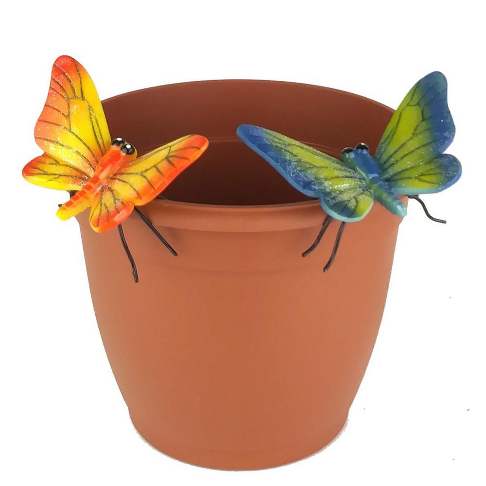2-Piece Yellow and Blue Butterfly Flower Pot Sitter Hanger