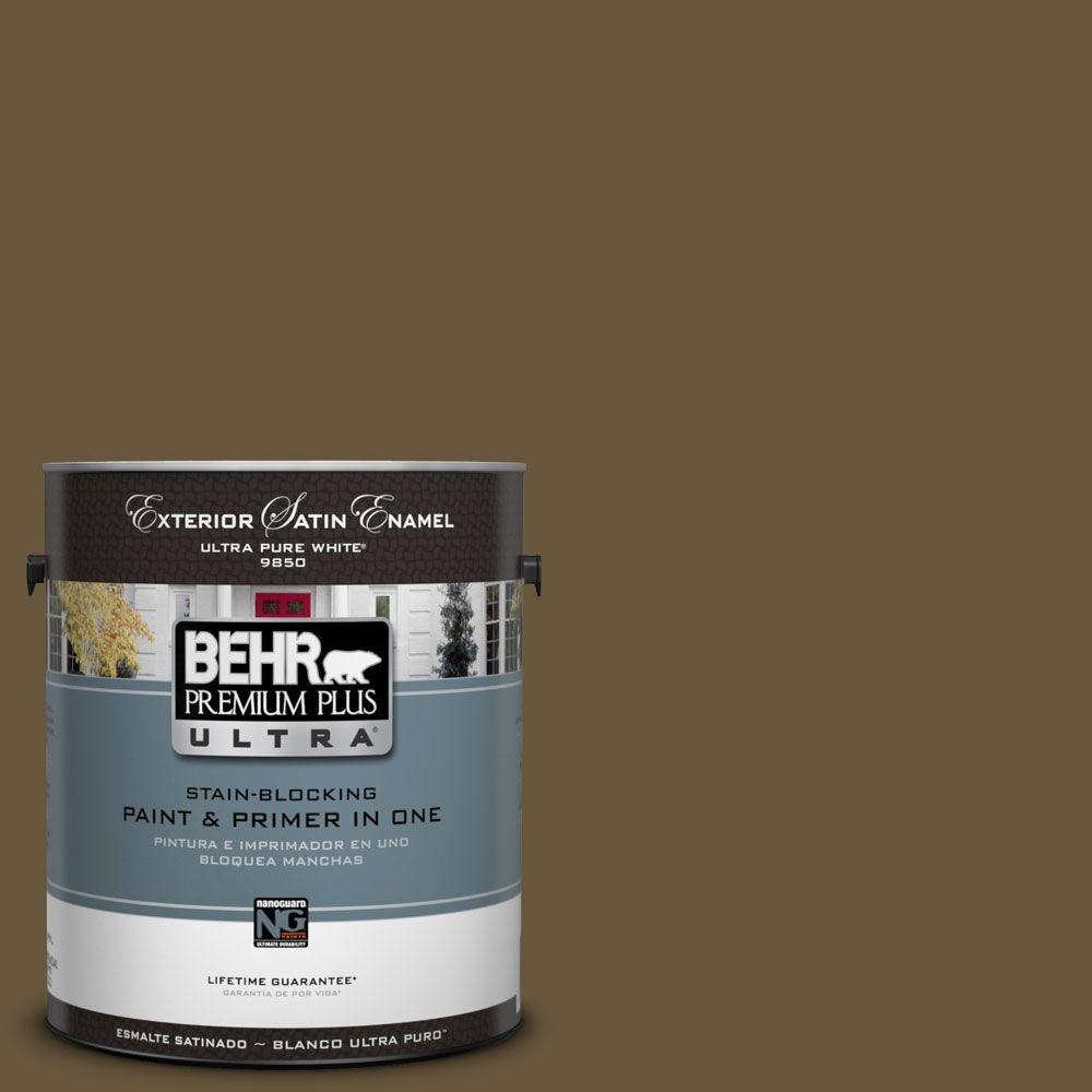 BEHR Premium Plus Ultra 1-Gal. #UL180-1 Moss Stone Satin Enamel Exterior Paint
