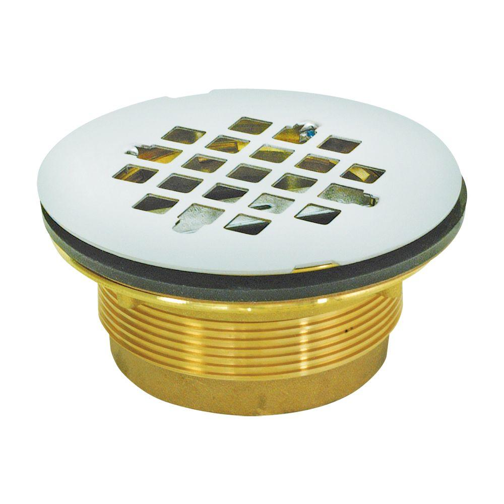 Ez Flo 2 In Brass Ips No Caulk Shower Drain 15306 The