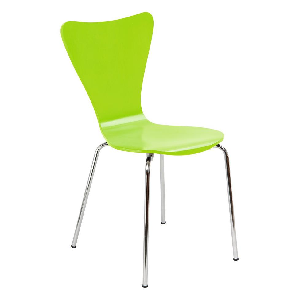 Legare Bent Plywood Lime Green Stack Chair with Chrome Plated Metal Legs  sc 1 st  Home Depot & Legare Bent Plywood Lime Green Stack Chair with Chrome Plated Metal ...
