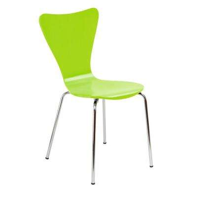 Bent Plywood Lime Green Stack Chair with Chrome Plated Metal Legs