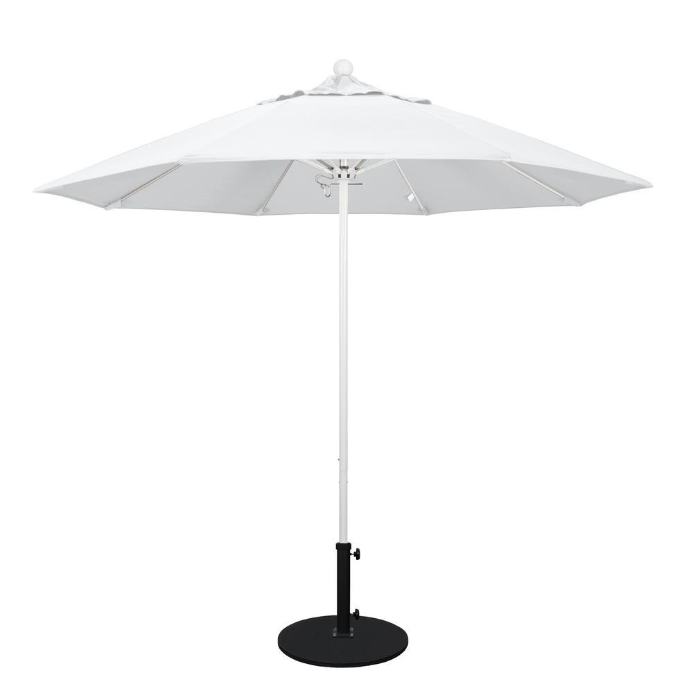 California Umbrella 9 ft. White Aluminum Pole Market Fiberglass Ribs Push Lift Patio Umbrella in Natural Sunbrella