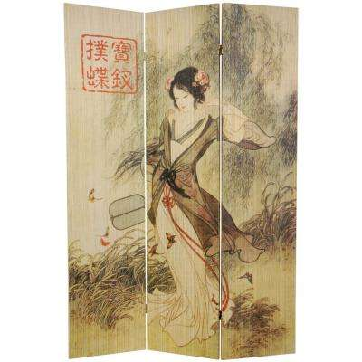 6 ft. Multi Color 3-Panel Asian Beauty Room Divider