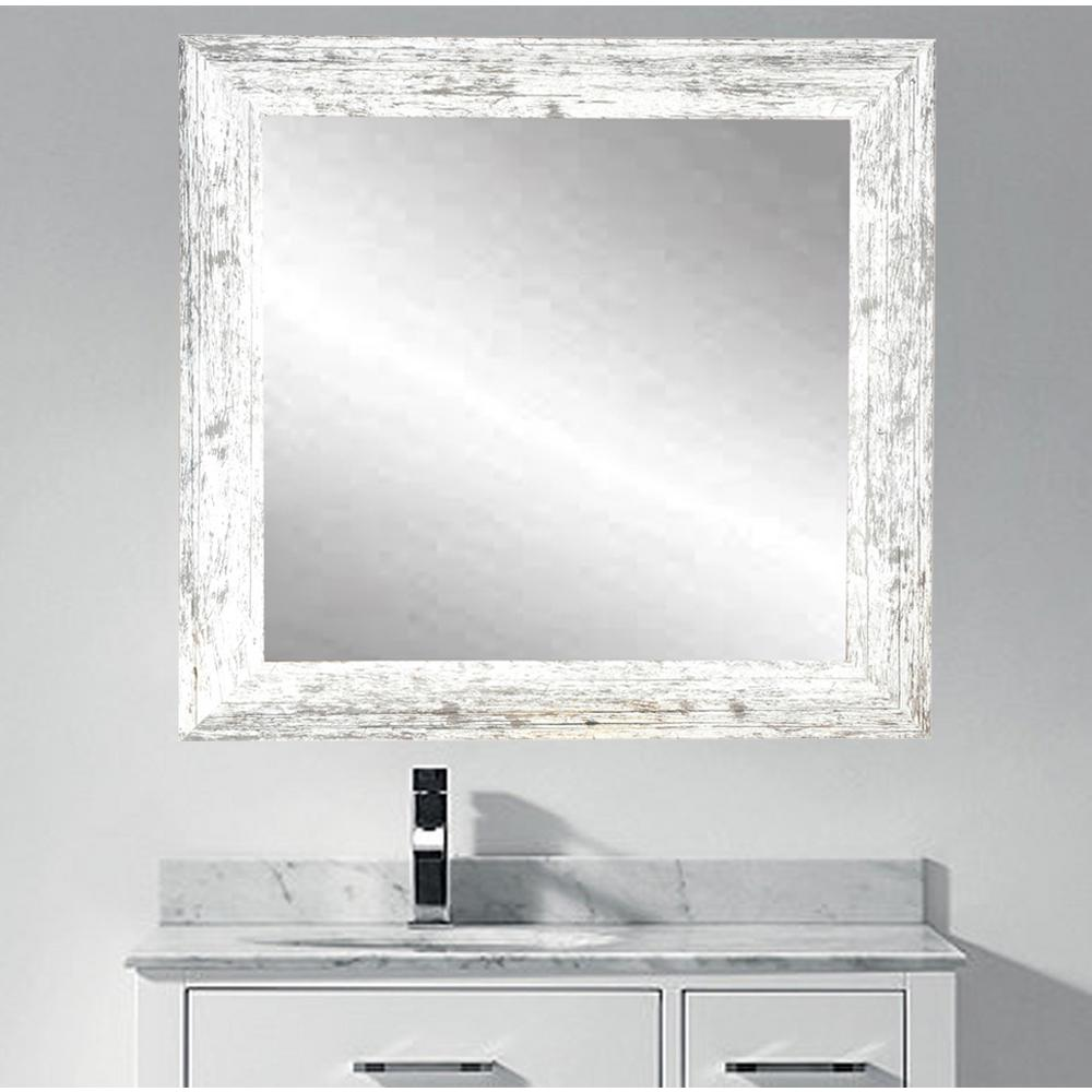 Distressed white barnwood wall mirror bm032sq the home depot amipublicfo Choice Image