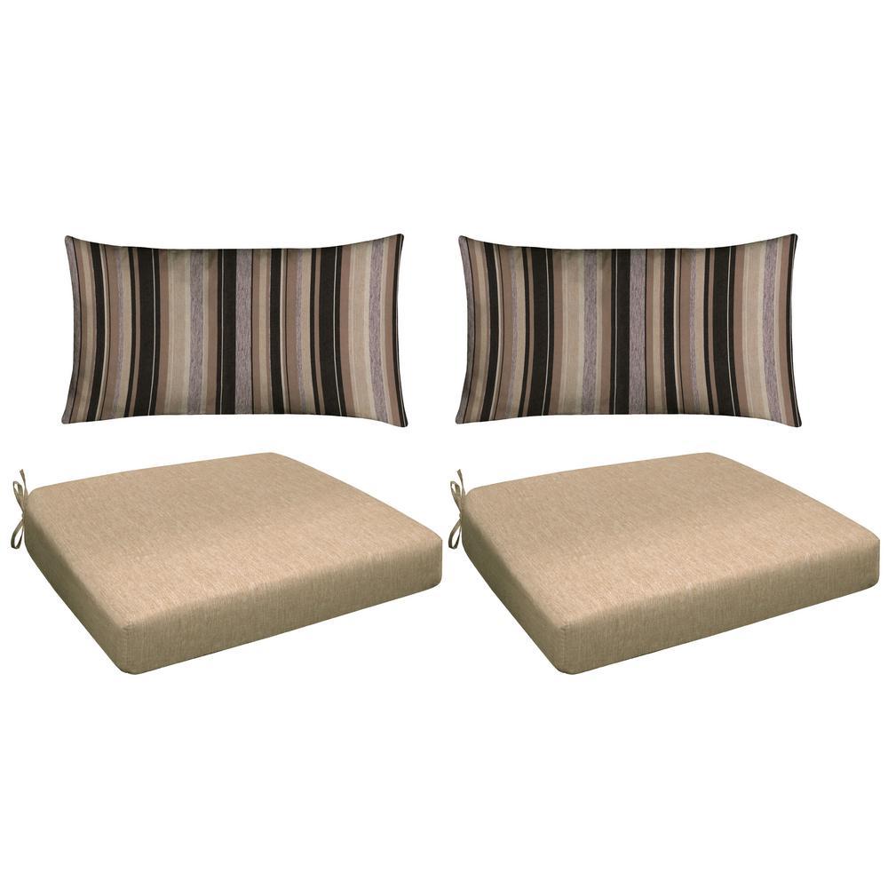 Neutral 4-Piece Outdoor Premium Dining Chair Cushion Set