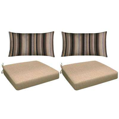 Neutral 4-Piece Outdoor Premium Dining Chair Cushion Set