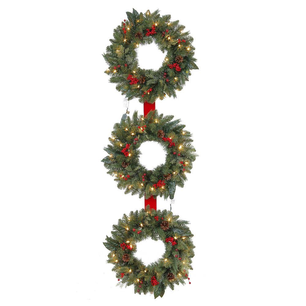 Martha Stewart Living 60 in. Winslow 3-Ring Artificial Wreath with 25 Clear Lights