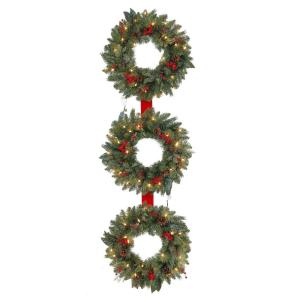 60 in. Winslow 3-Ring Artificial Wreath with 25 Clear Lights