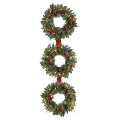 20 in. Pre-Lit Artificial Winslow Fir 3-Ring Wreath with 90 Tips and 25 Clear Lights per Wreath