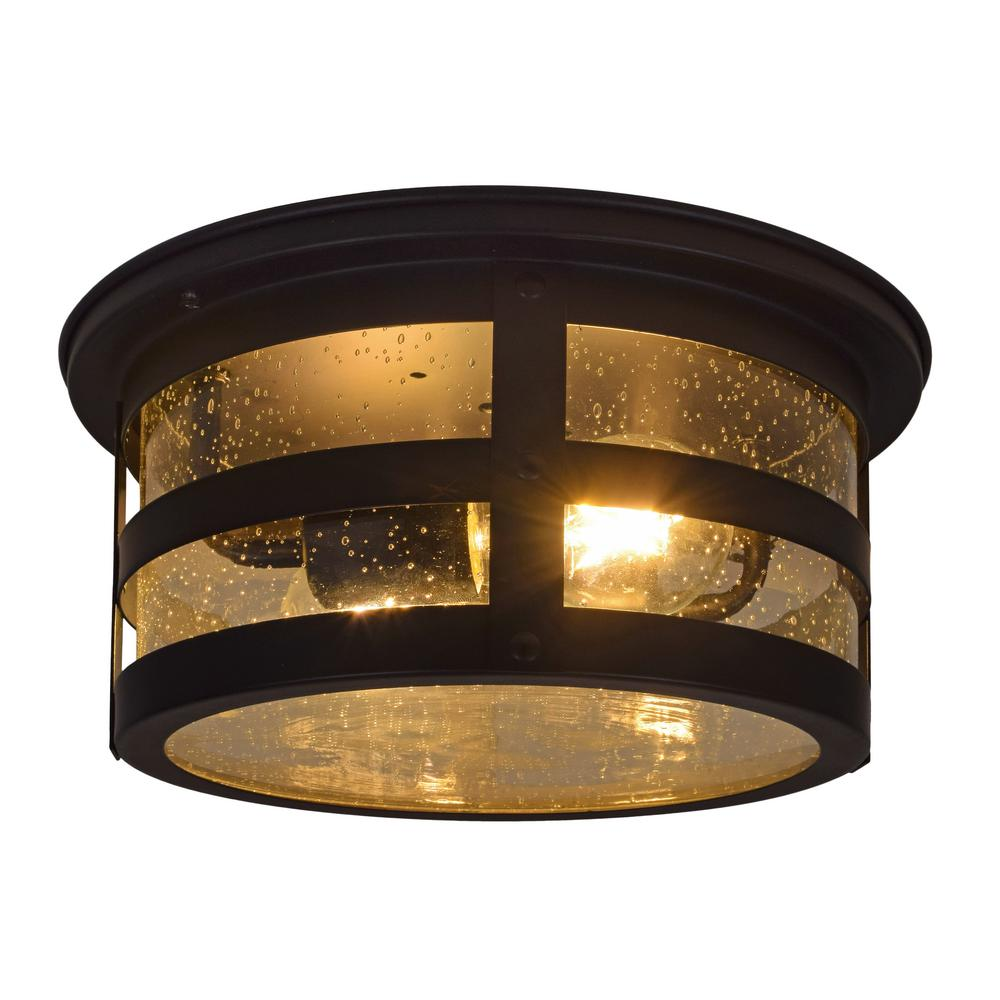 Sylvania Cambridge 2 Light Antique Black Ceiling Flushmount With Edison Led Bulbs Included