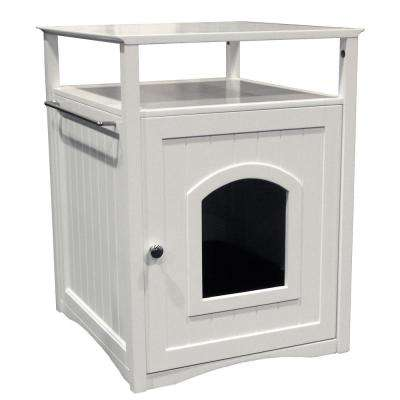White Cat Washroom Litter Box Cover