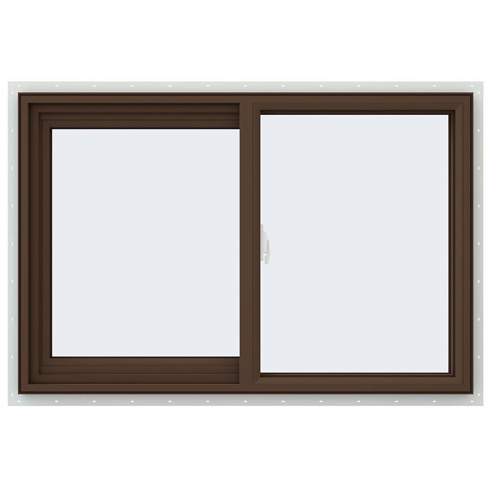 JELD-WEN 35.5 in. x 23.5 in. V-2500 Series Left-Hand Sliding Vinyl Window - Brown