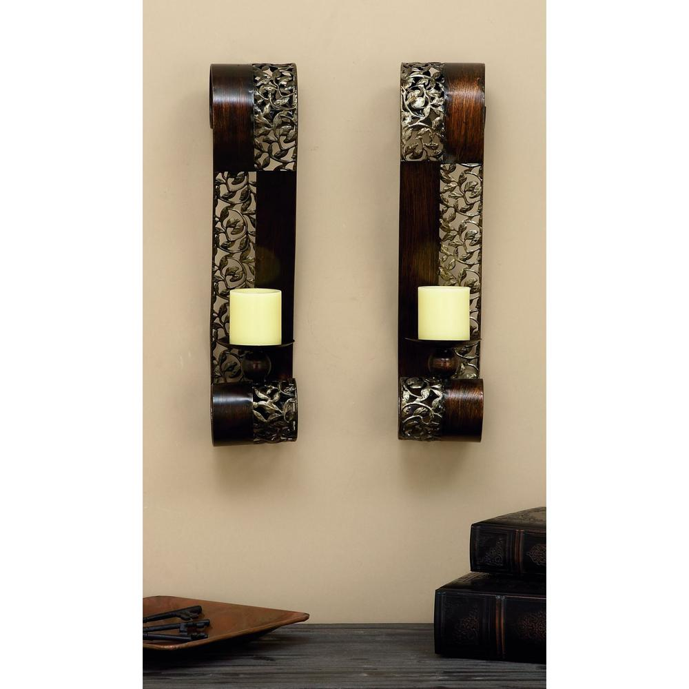Charming Pierced Leaf Wall Sconce Candle Holders (Set Of 2)