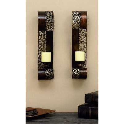 Pierced Leaf Wall Sconce Candle Holders (Set of 2)