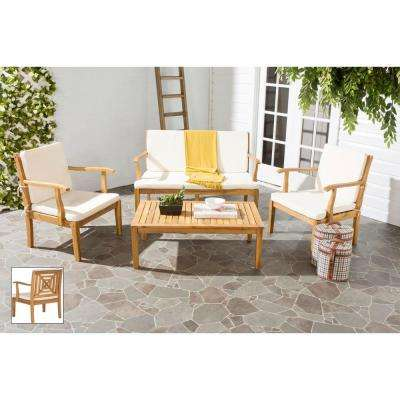 Del Mar Teak Brown 4-Piece Patio Seating Set with Beige Cushions