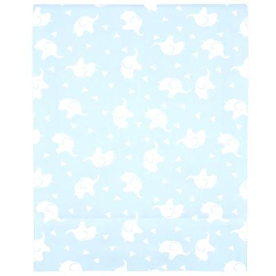 Super Soft Blue and White Elephant Polyester Fitted Crib Sheet