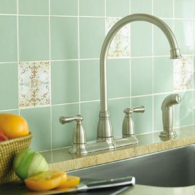 Banbury High-Arc 2-Handle Standard Kitchen Faucet with Side Sprayer in Spot Resist Stainless