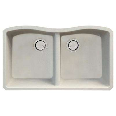 Aversa Undermount Granite 31 in. Equal Double Bowl Kitchen Sink in Cafe Latte