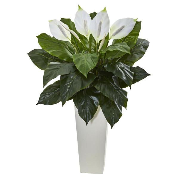 Nearly Natural 3 Ft Spathiphyllum Artificial Plant In White Tower Planter 6361 The Home Depot