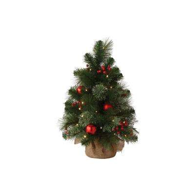 24 in. Indoor Pre-Lit Cedar and Pine Artificial Tabletop Tree