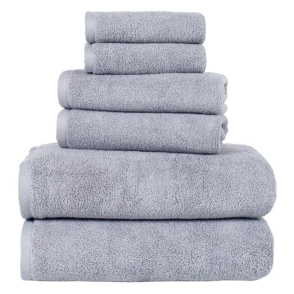 6-Piece Silver Solid Cotton Bath Towel Set