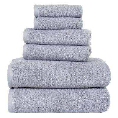 100% Egyptian Cotton Zero Twist Towel Set in Silver (6-Piece)
