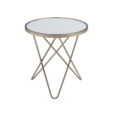 Amelia Champagne Frosted Glass Valora End Table