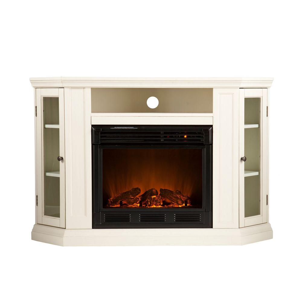 Southern Enterprises Claremont 48 in. Convertible Media Console Electric Fireplace in Ivory