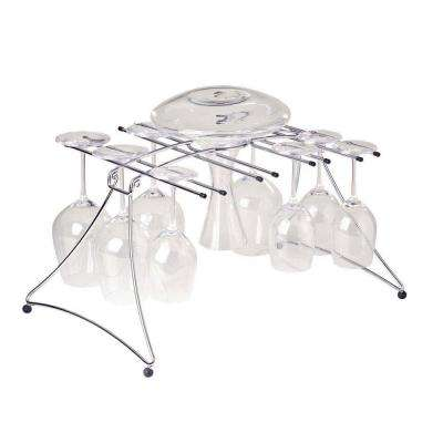 Large 20 in. Folding Drying Rack for Decanter and Wine Glass in Chrome