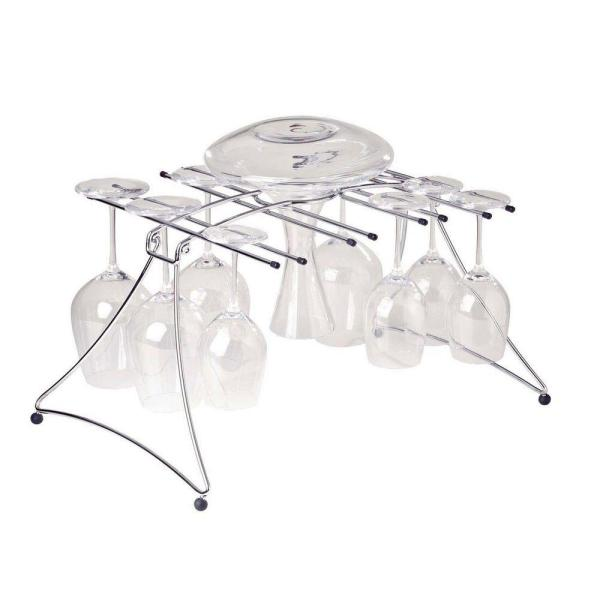 Wine Enthusiast Large 20 in. Folding Drying Rack for Decanter and Wine Glass in Chrome